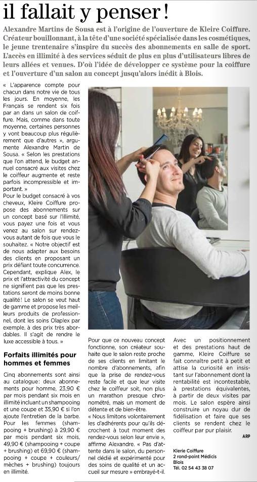 On parle de nous kleire coiffure salon de coiffure blois - Salon de coiffure blois ...